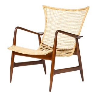 Lounge Chair With Cane Seat by Ib Kofod-Larsen for Selig For Sale
