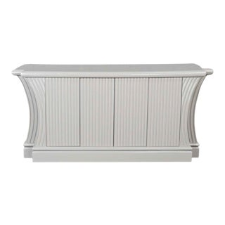 Art Deco Revival Custom Fluted Off White-Oyster Gray Console Cabinet Buffet For Sale