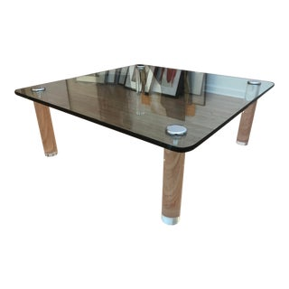 1970's Mid-Century Table with Glass Top + Chrome Capped Lucite Legs For Sale