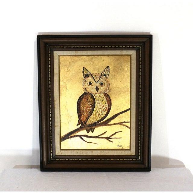 1960s Framed Golden Owl Painting - Image 2 of 5