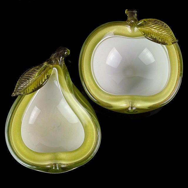 Priced per set (2 Sets Available). Beautiful vintage Murano hand blown olive green over white and gold flecks Italian art...