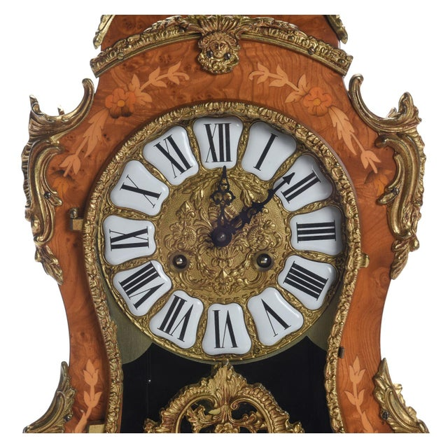 French Louis XV Rococo Mantel Clock ,1900's For Sale - Image 3 of 7