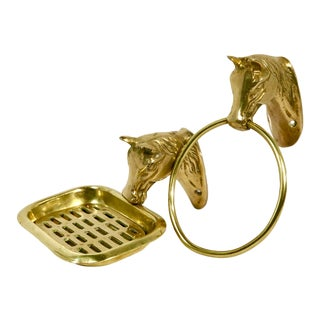 Vintage Equestrian Style Solid Brass Horse Head Soap Dish / Towel Holder Ring Bath Accessories - a Pair For Sale