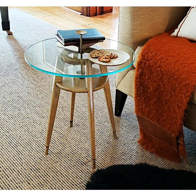 """1960s Mid Century Modern Brass Cocktail """"Cigarette"""" Table For Sale - Image 9 of 12"""