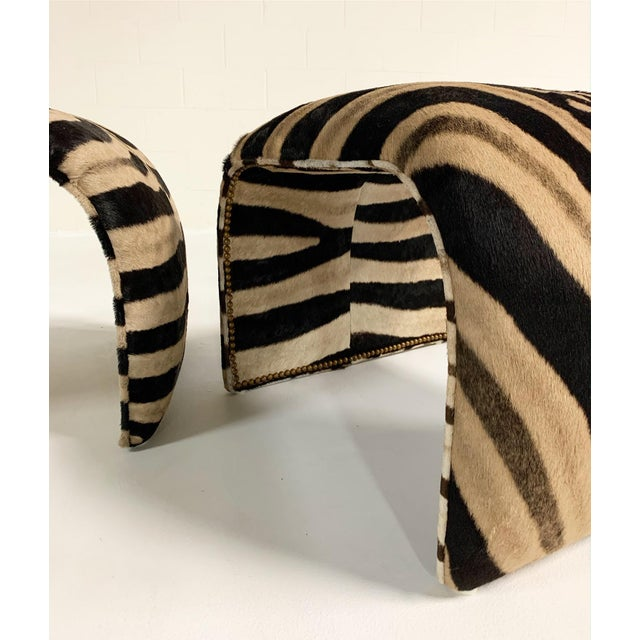 Waterfall Ottomans in Zebra Hide, Pair For Sale In Saint Louis - Image 6 of 9