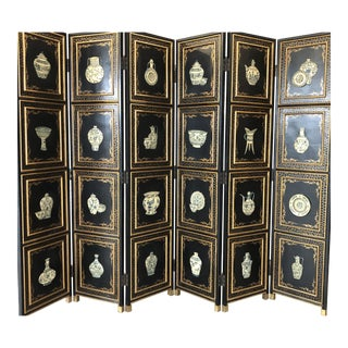 Antique Chinese Wooden 6-Panel Folding Screen For Sale