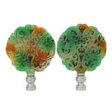 Image of Tri-Colored Carved Stone Lamp Finials - a Pair For Sale