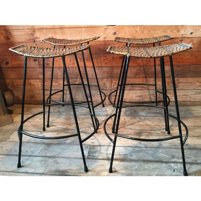 Arthur Umanoff Wrought Iron & Wicker Counter Height Bar Stools - Set of 4 For Sale - Image 11 of 11