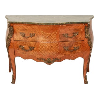 Early 20th Century French Louis XV Style Commode with Green Marble Top For Sale