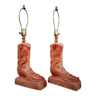 1970s Country Howard Kron Texans Incorporated Ceramic Boot Table Lamps - a Pair For Sale