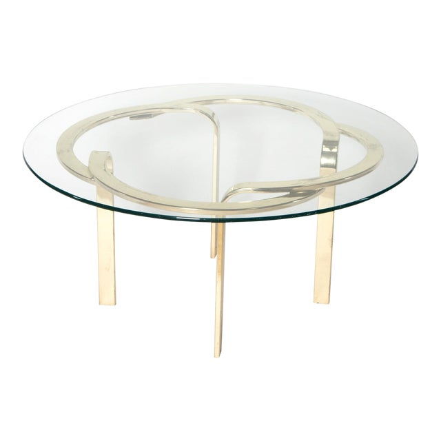 Interlocking Brass and Glass Round Cocktail Table For Sale