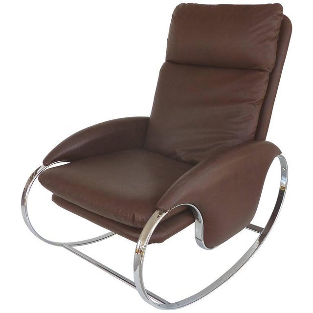 1970s Guido Faleschini Chrome Rocking Chair For Sale - Image 10 of 10