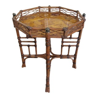 Faux Bamboo & Burlwood Occasional Table For Sale