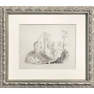 Antique 19th Century English Graphite Landscape Drawing With Castle C.1850 For Sale