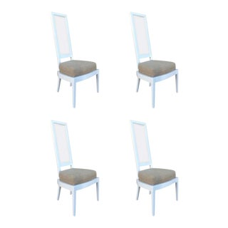 Set of Four 1970s White Lacquer and Lucite Dining Chairs For Sale