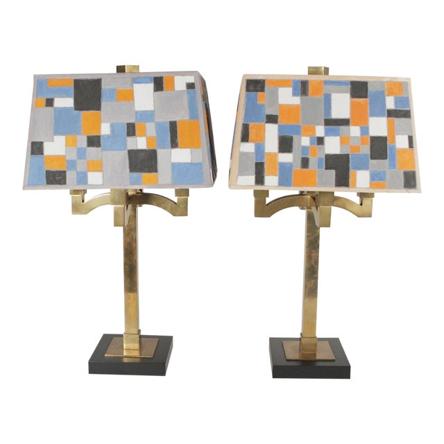 Mid-Century Modern Brass Table Lamps - a Pair For Sale