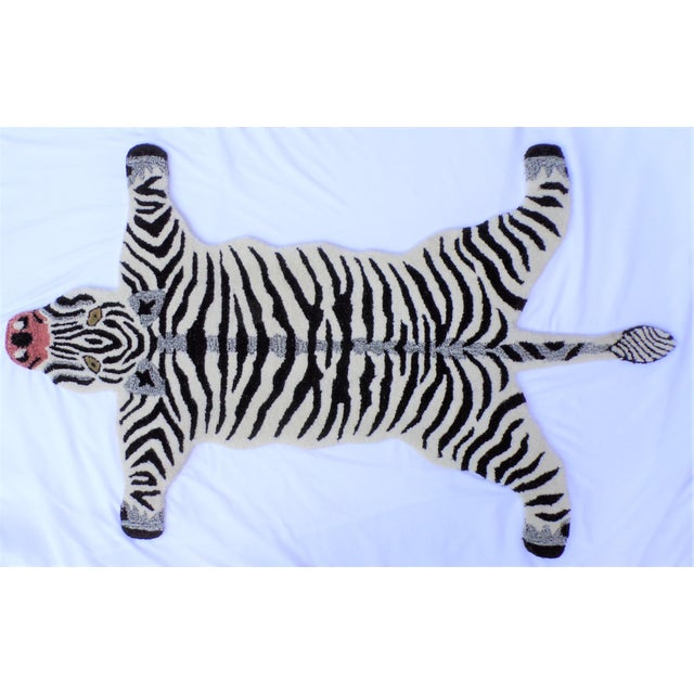 1990s 1990s Vintage Zebra Style Persian Rug - 3x5 Feet For Sale - Image 5 of 8