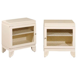 Gorgeous Restored Pair of End Tables by Widdicomb in Cream Lacquer, Circa 1938