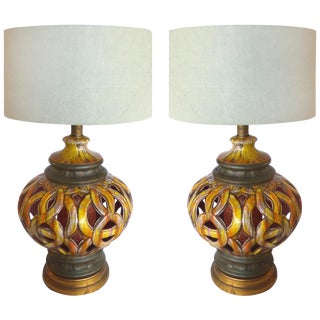 1960s Pierced Ceramic Table Lamps - A Pair For Sale