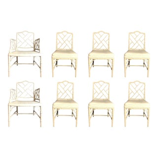 Set of 8 Faux Bamboo Chinese Chippendale Style Dining Chairs For Sale