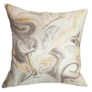 """Abstract Mixed Metals Beige Cotton and Linen Pillow Cover - 22"""""""