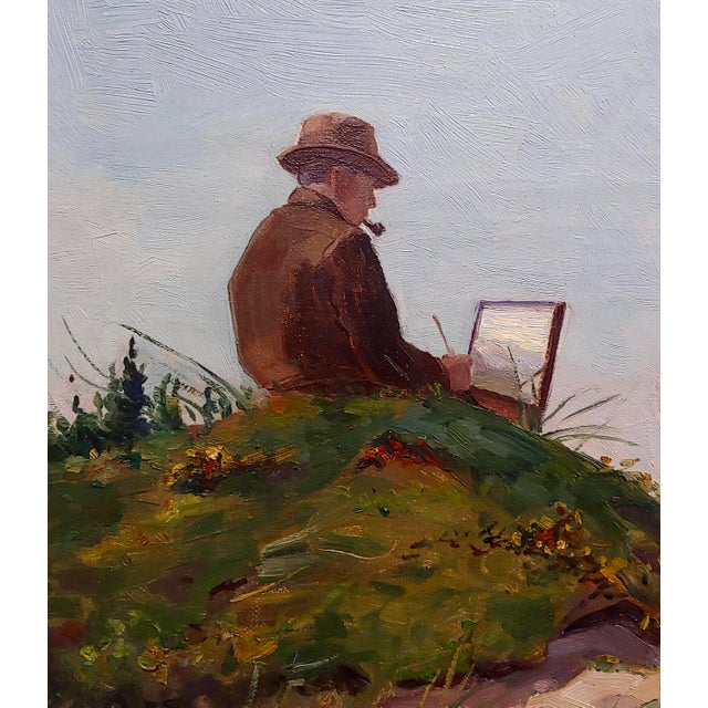 Henri Vos -Two Artists on the Dunes -Impressionist -Oil Painting C1910s For Sale - Image 4 of 9