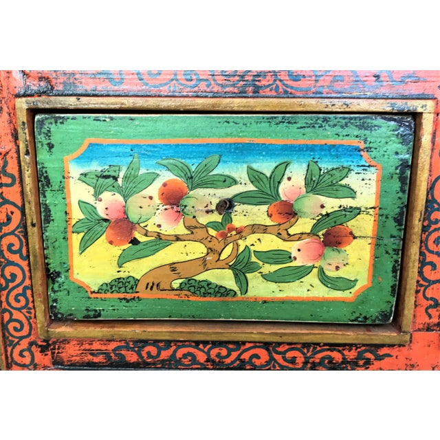 Antique Hand Painted Tibetan Chest For Sale - Image 5 of 10