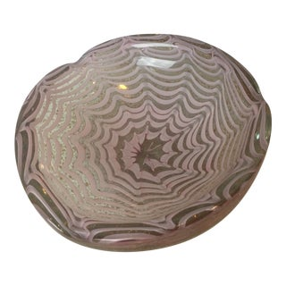 Vintage Murano Pink & Copper Bowl For Sale