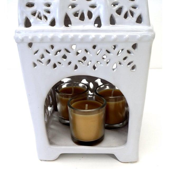 Marrakesh-Style White Ceramic Candleholder - Image 7 of 7