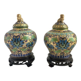 Antique Chinese Champleve Gilt Urns Foo Dogs -a Pair For Sale
