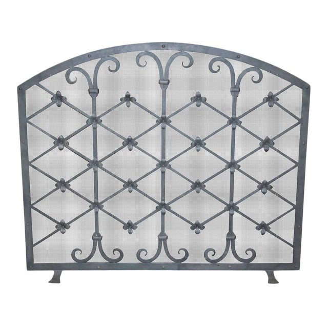 Custom Iron Fire Screen Made by Legacy Antiques in Dallas For Sale