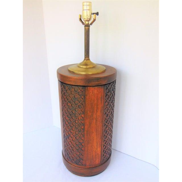 Mid-Century Mahogany Fretwork Lamp - Image 5 of 5