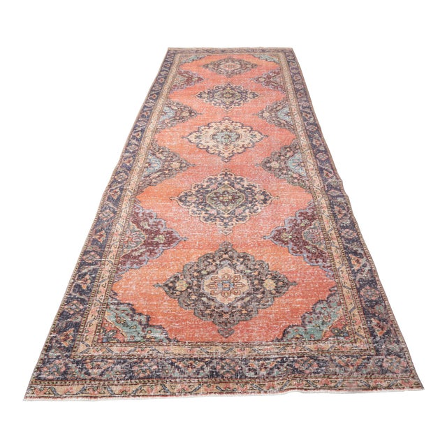 """1960's Vintage Turkish Hand-Knotted Wide Runner Rug - 4'4"""" X 12'5"""" For Sale"""