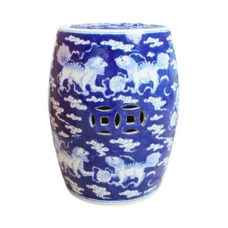 Blue and White Lion Motif Porcelain Garden Stool
