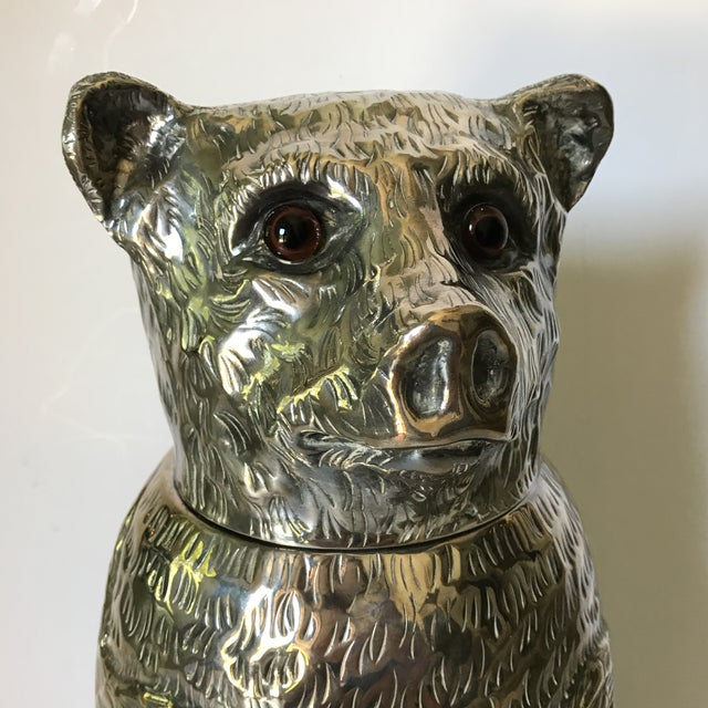 1970s Italian Silver Plated Bear Wine Cooler For Sale - Image 5 of 12
