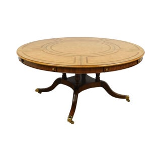"Maitland Smith 64"" - 87.5"" Round Regency Style Tooled Leather Mahogany Dining Table For Sale"