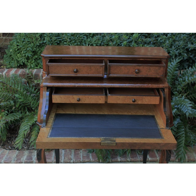 French Antique French Birds Eye Maple Fall Front Secretary Desk Bureau For Sale - Image 3 of 13