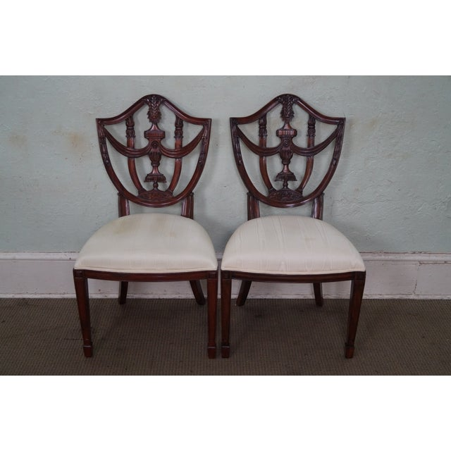 Store Item #: 14571 Maitland Smith Set of 8 Solid Mahogany Federal Style Shield Back Dining Chairs AGE/COUNTRY OF ORIGIN:...