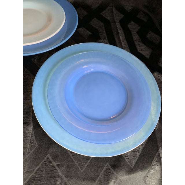 1980s Cenedese Italian Murano Blue Translucent Opalescent Plate Settings - Set of 8 For Sale - Image 5 of 11