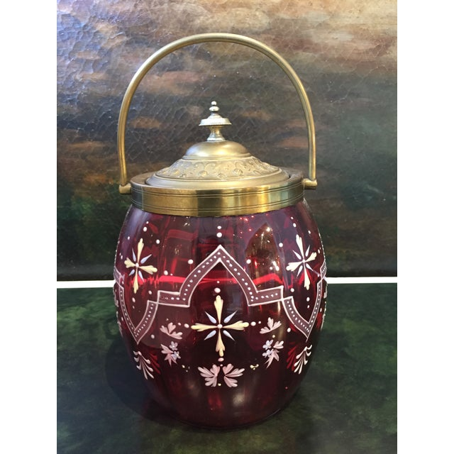 Victorian 19th Century Biscuit Barrel Hand Enameled Cranberry Glass W/ Brass Lid & Handle For Sale - Image 3 of 11