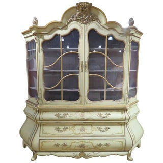 Distressed Cream Painted and Gilt Carved China Cabinet