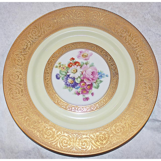 Stun them with this stunning floral-decorated porcelain chargers intricately decorated in 23-karat gold motif. H&C Co. in...