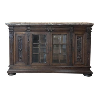 19th Century French Louis XIV Marble Top Display Buffet For Sale
