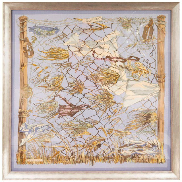 """Fabric 1960s """"Grand Vent"""" Framed Hermes Scarf For Sale - Image 7 of 7"""