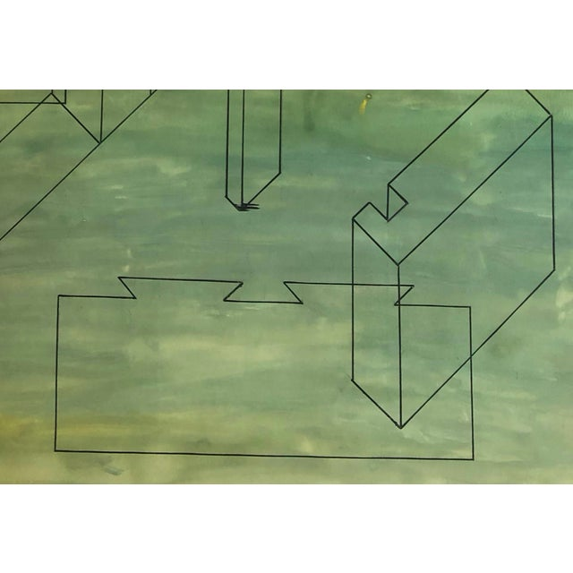 Mid-Century Modern 1950s Mid-Century Modern Geometric Painting For Sale - Image 3 of 7