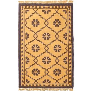 Vintage Mid-Century Geometric Cotton Flat Weave Rug - 3′3″ × 5′1″ For Sale