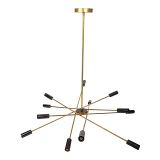 Brass and Black Sputnik Chandelier For Sale