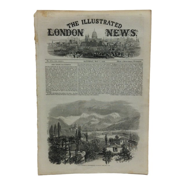 "1859 Antique Illustrated London News ""Turin - the Seat of the Sardinian Monarchy"" Print For Sale"