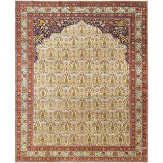 Antique Prayer Design Tabriz Persian Rug - 9′10″ × 83′1″ For Sale