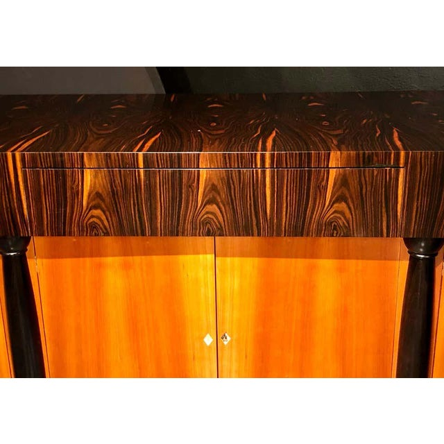 Wood Palatial Six Door Macassar Sideboard Cabinet Ebonized Column and Feet Support For Sale - Image 7 of 13